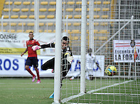 BOGOTA- COLOMBIA -06 -09-2014: Yorleys Meza (Fuera de Cuadro) jugador de Fortaleza FC anota gol a Andres Castellanos (Der.) portero de Deportivo Independinete Medellin durante partido entre Fortaleza FC y Deportivo Independinete Medellin por la fecha 8 de la Liga Postobon II 2014, jugado en el Metropolitano de Techo de la ciudad de Bogota. / Yorleys Meza (Out of Pic) player of Fortaleza FC scored a goal to Andres Castellanos (R) player of Deportivo Independinete Medellin during a match between Fortaleza FC and Deportivo Independiente Medellin for the date 8th of the Liga Postobon II 2014 at the Metropolitano de Techo Stadium in Bogota city. / Photo: VizzorImage  / Luis Ramirez / Staff.