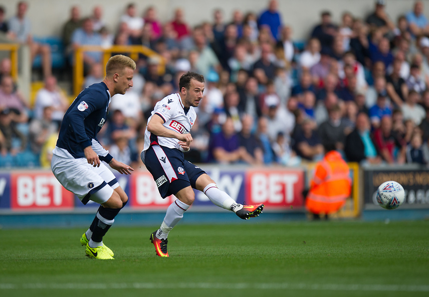 Bolton Wanderers' Adam Le Fondre in action during today's game<br /> <br /> Photographer Ashley Western/CameraSport<br /> <br /> The EFL Sky Bet Championship - Millwall v Bolton Wanderers - Saturday August 12th 2017 - The Den - London<br /> <br /> World Copyright &not;&copy; 2017 CameraSport. All rights reserved. 43 Linden Ave. Countesthorpe. Leicester. England. LE8 5PG - Tel: +44 (0) 116 277 4147 - admin@camerasport.com - www.camerasport.com