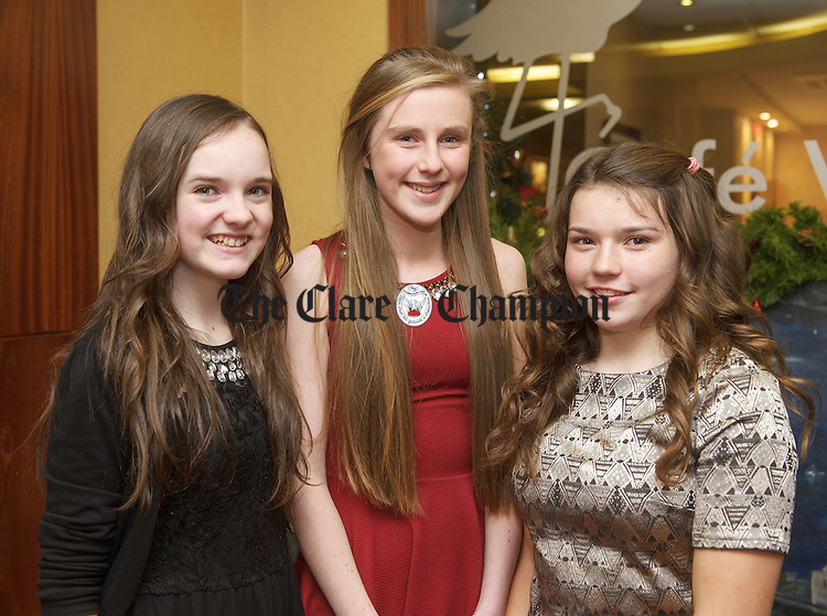 Mary Culligan, Aine Slattery and Ailbhe Mc Namara at the Lissycasey GAA victory social in the West County Hotel, Ennis. Photograph by John Kelly.
