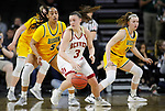 SIOUX FALLS, SD - MARCH 8: Lauren Loven #3 of the Denver Pioneers pivots to find open space against Ryan Cobbins #5 of the North Dakota State Bison at the 2020 Summit League Basketball Championship in Sioux Falls, SD. (Photo by Richard Carlson/Inertia)