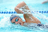 14 January 2012:  FIU's Nadia Farrugia competes in the 200 yard freestyle as the FIU Golden Panthers won the meet with the Central Connecticut State University Blue Devils at the Biscayne Bay Campus Aquatics Center in Miami, Florida.