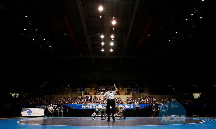 LA CROSSE, WI - MARCH 11: Jay Albis of Johnson & Wales prepares to tangle up with Nathan Pike of NYU in the 133 weight class during NCAA Division III Men's Wrestling Championship held at the La Crosse Center on March 11, 2017 in La Crosse, Wisconsin. Pike beat Albis with a fall to win the National Championship. (Photo by Carlos Gonzalez/NCAA Photos via Getty Images)