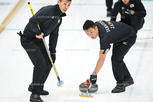 Takeshi Yamaguchi (JPN), <br /> FEBRUARY 18, 2017 - Curling : <br /> Men's Round Robin match between<br /> Japan 19-1 Qatar <br /> during the 2017 Sapporo Asian Winter Games <br /> at Sapporo Curling Stadium in Hokkaido, Japan. <br /> (Photo by AFLO SPORT)