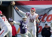 NWA Democrat-Gazette/JASON IVESTER <br /> Arkansas vs Kansas St, Liberty Bowl<br /> Arkansas quarterback Brandon Allen attempts a pass during the first quarter on Saturday, Jan. 2, 2016, at the Liberty Bowl in Memphis, Tenn.