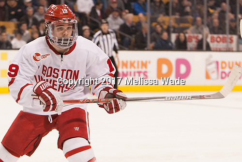 Clayton Keller (BU - 19) - The Harvard University Crimson defeated the Boston University Terriers 6-3 (EN) to win the 2017 Beanpot on Monday, February 13, 2017, at TD Garden in Boston, Massachusetts.