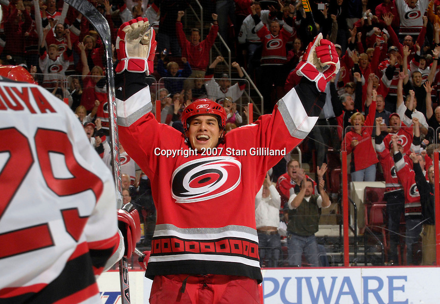 Carolina Hurricanes' defenseman David Tanabe celebrates his first period goal against the New Jersey Devils Thursday, March 15, 2007 at the RBC Center in Raleigh, NC. New Jersey won 3-2.