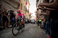 Joe Dombrowski (USA/EF Education First) up the steep, cobbled & crowded climb in Pinerolo<br /> <br /> Stage 12: Cuneo to Pinerolo (158km)<br /> 102nd Giro d'Italia 2019<br /> <br /> ©kramon