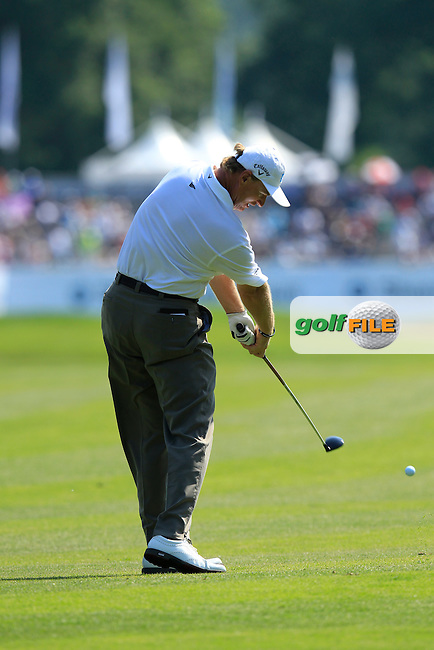 Ernie Els (RSA) takes his 2nd shot on the 18th hole during Thursday's Round 1 of the 2013 BMW International Open held on the Eichenried Golf Club, Munich, Germany. 20th June 2013<br /> (Picture: Eoin Clarke www.golffile.ie)