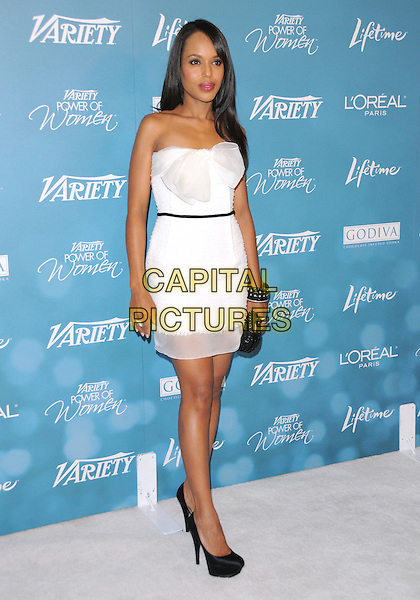 KERRY WASHINGTON .at the Variety 2nd Annual Power of Women Luncheon held at The Beverly Hills Hotel in Beverly Hills, California, USA, September 30th 2010..full length strapless white dress bow sheer trim see thru through black shoes clutch bag platform .CAP/RKE/DVS.©DVS/RockinExposures/Capital Pictures.