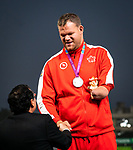 Lima, Peru -  25/August/2019 -  Gregory Stewart takes the silver medal in men's shot put F46 at the Parapan Am Games in Lima, Peru. Photo: Dave Holland/Canadian Paralympic Committee.