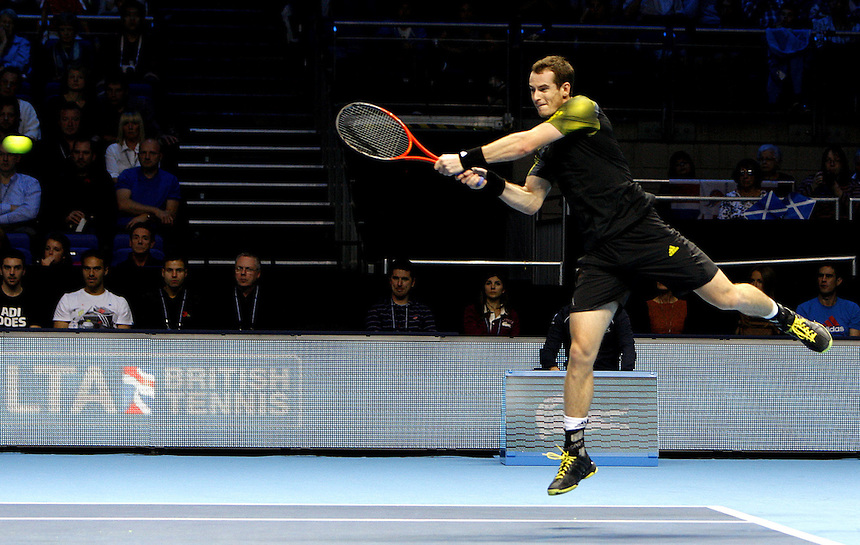 Andy Murray (GBR) in action today during his victory over Tomas Berdych (CZE) today in their Group A match - Andy Murray (GBR) def Tomas Berdych (CZE) 3-6 6-3 6-3..International Tennis - Barclays ATP World Tour Finals - O2 Arena - London - Day 1 Monday 5th November 2012..
