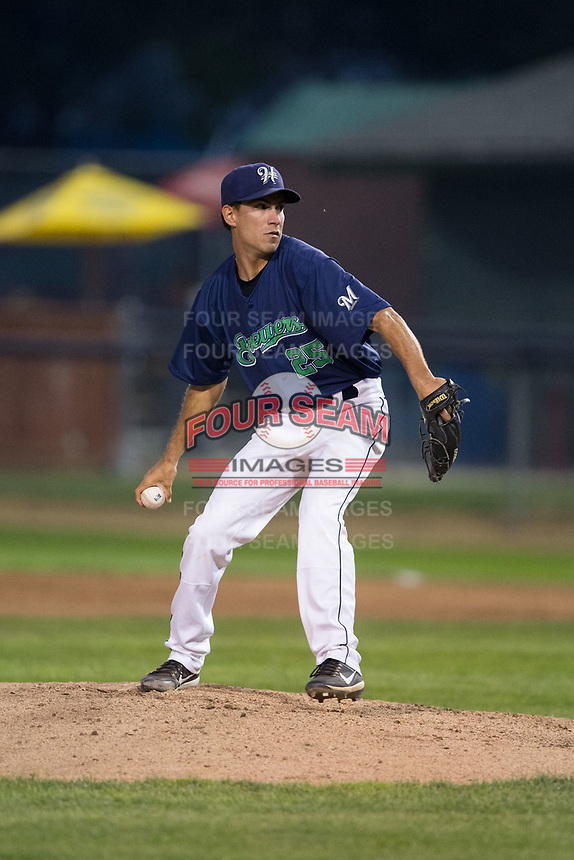 Helena Brewers relief pitcher Matthew Hardy (25) in action against the Orem Owlz at Kindrick Legion Field on August 17, 2017 in Helena, Montana.  The Owlz defeated the Brewers 5-2.  (Brian Westerholt/Four Seam Images)