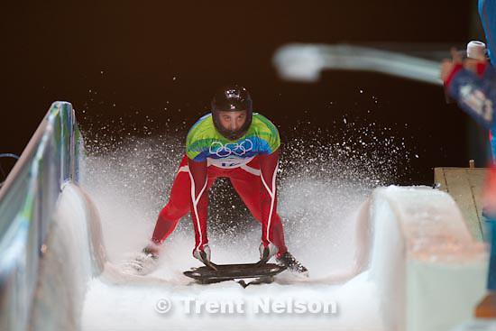 Trent Nelson  |  The Salt Lake Tribune.Men's Skeleton, at the XXI Olympic Winter Games in Whistler, Thursday, February 18, 2010. zach lund, usa