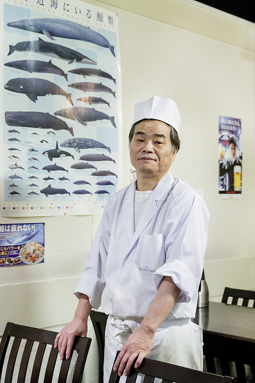 Tokyo, March 9 2016 - At Ichinotani restaurant specialized in whale food, portrait of the chef Mituo TANI.