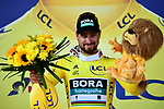 World Champion Peter Sagan (SVK) Bora-Hansgrohe wins Stage 2 and takes over the race leaders Yellow Jersey of the 2018 Tour de France running 182.5km from Mouilleron-Saint-Germain to La Roche-sur-Yon, France. 8th July 2018. <br /> Picture: ASO/Alex Broadway | Cyclefile<br /> All photos usage must carry mandatory copyright credit (&copy; Cyclefile | ASO/Alex Broadway)