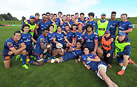 The Tasman team poses for a group photo after winning the rugby match against Wellington in the Jack Hobbs Memorial Under-19 Rugby Tournament at Owen Delaney Park in Taupo, New Zealand on Wednesday, 13 September 2012. Photo: Dave Lintott / lintottphoto.co.nz