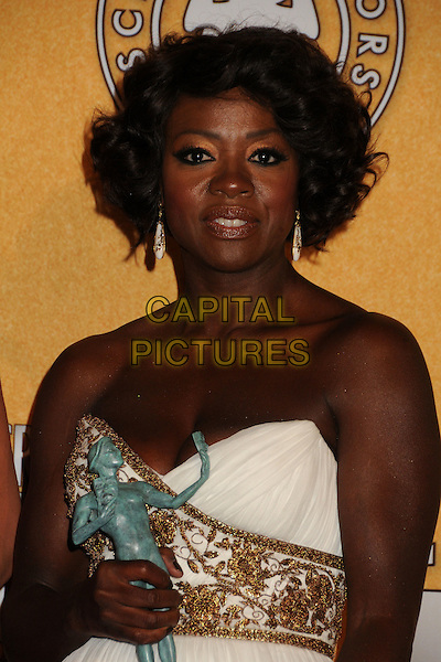 Viola Davis.The 18th Annual Screen Actors Guild Awards held at The Shrine Auditorium in Los Angeles, California, USA..January 29th, 2012.SAG SAGS half length award trophy winner white gold strapless dress bracelet embroidered .CAP/ADM/BP.©Byron Purvis/AdMedia/Capital Pictures.