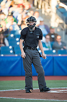 Home plate umpire Nick McFarland during a Northwest League game between Hillsboro Hops and the Salem-Keizer Volcanoes at Ron Tonkin Field on September 1, 2018 in Hillsboro, Oregon. The Salem-Keizer Volcanoes defeated the Hillsboro Hops by a score of 3-1. (Zachary Lucy/Four Seam Images)