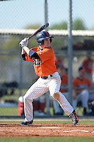 Gettysburg Bullets outfielder Patrick O'Grady (18) at bat during the first game of a doubleheader against the Edgewood Eagles at the Lee County Player Development Complex on March 10, 2014 in Fort Myers, Florida.  Gettysburg defeated Edgewood 3-2.  (Mike Janes/Four Seam Images)