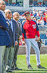 22 September 2013: Washington Nationals Manager Davey Johnson smiles alongside General Manager Mike Rizzo and team Owners during a retrospective career video played for fans prior to a game against the Miami Marlins at Nationals Park in Washington, DC. The Marlins defeated the Nationals 4-2 in the first game of their day/night double-header. Mandatory Credit: Ed Wolfstein Photo *** RAW (NEF) Image File Available ***