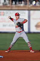 Palm Beach Cardinals second baseman Andy Young (15) throws to first base during a game against the Charlotte Stone Crabs on April 20, 2018 at Charlotte Sports Park in Port Charlotte, Florida.  Charlotte defeated Palm Beach 4-3.  (Mike Janes/Four Seam Images)