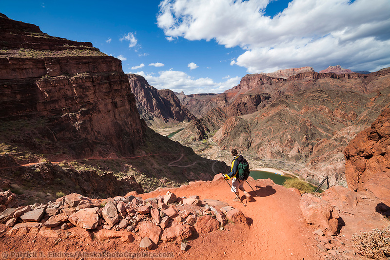 Man hikes down the Kaibib trail in the Grand Canyon National Park, Arizona