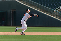 Oregon State Beavers second baseman Andy Armstrong (9) during a game against the New Mexico Lobos on February 15, 2019 at Surprise Stadium in Surprise, Arizona. Oregon State defeated New Mexico 6-5. (Zachary Lucy/Four Seam Images)