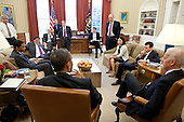 United States President Barack Obama and Vice President Joe Biden meet with staff in the Oval Office to discuss the ongoing budget negotiations on a funding bill, April 8, 2011. Visible in the photo, from left, The President; former White House Chief of Staff Pete Rouse; Rob Nabors, Assistant to the President for Legislative Affairs; Office of Management and Budget Director Jack Lew; Chief of Staff Bill Daley; Bruce Reed, Chief of Staff to the Vice President; National Economic Council Director Gene Sperling; Press Secretary Jay Carney;  Phil Schiliro, Assistant to the President and Special Advisor; Nancy-Ann Min DeParle, Deputy Chief of Staff for Policy; Senior Advisor David Plouffe; and Vice President Biden..Mandatory Credit: Pete Souza - White House via CNP
