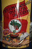 Amazon, Brazil. Poster calling for agrarian reform; Movimento Sem Terra: 'Agrarian Reform A Filght for Everyone'.