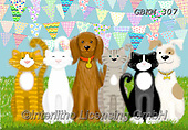 Kate, CUTE ANIMALS, LUSTIGE TIERE, ANIMALITOS DIVERTIDOS, paintings+++++Fluffy pets with bunting 2,GBKM307,#ac#, EVERYDAY ,cat,cats ,dogs,dog