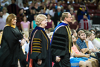 2016 Fall Convocation in Humphrey Coliseum: processional with Maroon Edition author Ashley Rhodes-Courter, Provost and Executive Vice President Judy Bonner, and President Mark E. Keenum.<br />  (photo by Megan Bean / &copy; Mississippi State University)