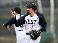 NWA Democrat-Gazette/CHARLIE KAIJO Bentonville West High School Hallie Wacaser (1) gestures during a softball game, Thursday, March 13, 2019 at Bentonville West High School in Centerton.