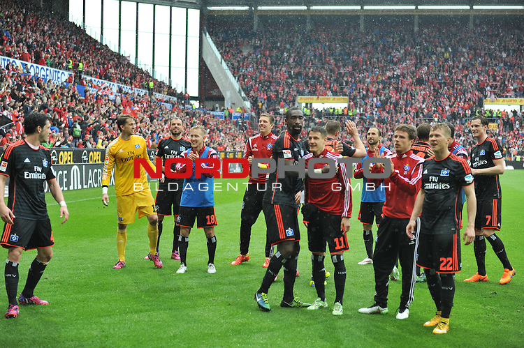 03.05.2015, cofacearena, Mainz, GER, FSV Mainz 05 vs. Hamburger SV, im Bild: Hamburger Jubel<br /> <br /> <br /> Foto &copy; nordphoto / Fabisch