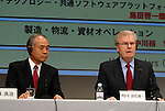 Sony Corp. President Ryoji Chubachi and chairman and chief executive Howard Stringer attend a press conference held at the company's headquarters in Tokyo on Friday night. Chubachi is stepping down as president, and Stringer ill stay on, adding the presidency as another title.  27 February, 2009. (Taro Fujimoto/JapanToday/Nippon News)