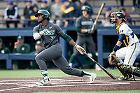 Michigan State Spartans outfielder Zaid Walker (3) follows through on his swing in the NCAA baseball game against the Michigan Wolverines on May 7, 2019 at Ray Fisher Stadium in Ann Arbor, Michigan. Michigan defeated Michigan State 7-0. (Andrew Woolley/Four Seam Images)