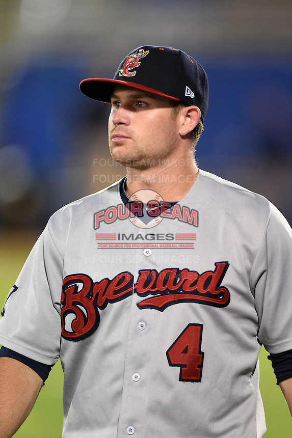 Brevard County Manatees shortstop Steven Halcomb (4) walks to the clubhouse after a game against the Dunedin Blue Jays on April 23, 2015 at Florida Auto Exchange Stadium in Dunedin, Florida.  Brevard County defeated Dunedin 10-6.  (Mike Janes/Four Seam Images)