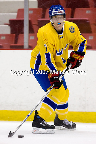 Jonathan Carlsson (Sweden/Brynas IF - Uppsala, Sweden) - Team Blue for the USA defeated Team Sweden 5-3  on Wednesday, August 8, 2007, in the 1980 Rink at Lake Placid, New York during the Summer Hockey Challenge.