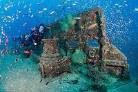 qt1326-D. scuba diver (model released) explores La Salvatierra shipwreck, near La Paz. Baja, Mexico, Sea of Cortez, Pacific Ocean.<br /> Photo Copyright &copy; Brandon Cole. All rights reserved worldwide.  www.brandoncole.com