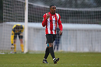 Matthias Fanimo of Hornchurch scores the third goal for his team and celebrates during AFC Hornchurch vs Waltham Abbey, Bostik League Division 1 North Football at Hornchurch Stadium on 13th January 2018