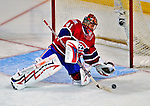 18 December 2008: Montreal Canadiens' goaltender Jaroslav Halak from the Slovak Republic makes a save during the third period against the Philadelphia Flyers at the Bell Centre in Montreal, Quebec, Canada. The Canadiens, trying to avoid a four-game slide, defeated the Flyers 5-2, thus ending Philadelphia's 5-game winning streak. ***** Editorial Sales Only ***** Mandatory Photo Credit: Ed Wolfstein Photo