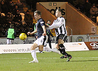 Will Vaulks being pressured by Lawrence Shankland in the St Mirren v Falkirk Scottish Professional Football League Ladbrokes Championship match played at the Paisley 2021 Stadium, Paisley on 1.3.16.