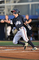 Shortstop Marcus Mooney (14) of the Danville Braves bats in a game against the Johnson City Cardinals on Friday, July 1, 2016, at Legion Field at Dan Daniel Memorial Park in Danville, Virginia. Johnson City won, 1-0. (Tom Priddy/Four Seam Images)