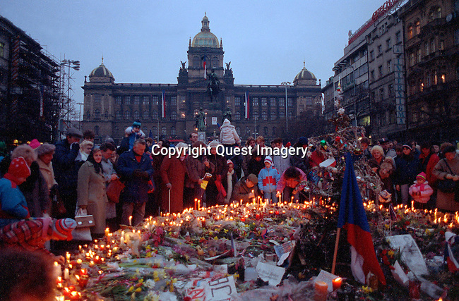 Images from the inauguration of Vaclav Havel in 1989 to 1990 Anti-Soviet demonstrations in the Old Town Square, in Prague, Czechoslovakia during the fall of Communism.<br /> Photo by Deirdre Hamill/Quest Imagery