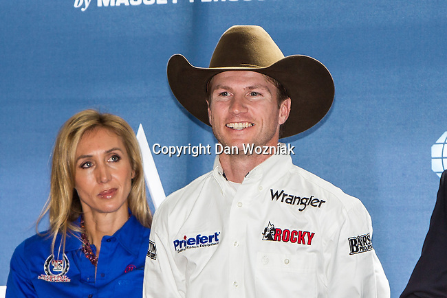 JUSTIN MCBRIDE at the press conference before the Iron Cowboy V event at the AT & T stadium in Arlington, Texas.