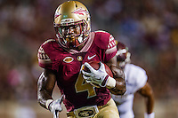 TALLAHASSEE, FLA. 9/5/15-Florida State University's Dalvin Cook runs during first half action in the football game against Texas State University at Doak Campbell Stadium in Tallahassee.<br /> <br /> COLIN HACKLEY PHOTO