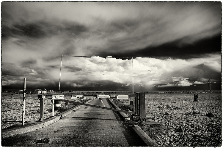 Barrier over road at Dungeness