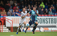Will De Havilland of Wycombe Wanderers & Scott Rendall of Aldershot Town during the pre season friendly match between Aldershot Town and Wycombe Wanderers at the EBB Stadium, Aldershot, England on 22 July 2017. Photo by Andy Rowland.