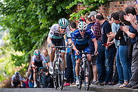 Picture by Alex Whitehead/SWpix.com - 14/05/2017 - Cycling - 2017 HSBC UK   Spring Cup Road Series - Lincoln Grand Prix - One Pro Cycling's x and Bike Channel Canyon's James Lowsley Williams climb Michaelgate cobbles.