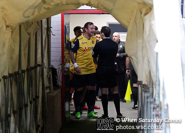 Wrexham 2 Ebbsfleet United 0, 18/11/2017. The Racecourse Ground, National League. Danny Kedwell of Ebbsfleet United and Referee Peter Gibbons share a joke in the tunnel. Photo by Paul Thompson.