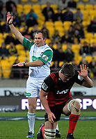 Referee Glen Jackson penalises Scott Barrett during the Super Rugby match between the Hurricanes and Crusaders at Westpac Stadium in Wellington, New Zealand on Saturday, 15 July 2017. Photo: Dave Lintott / lintottphoto.co.nz